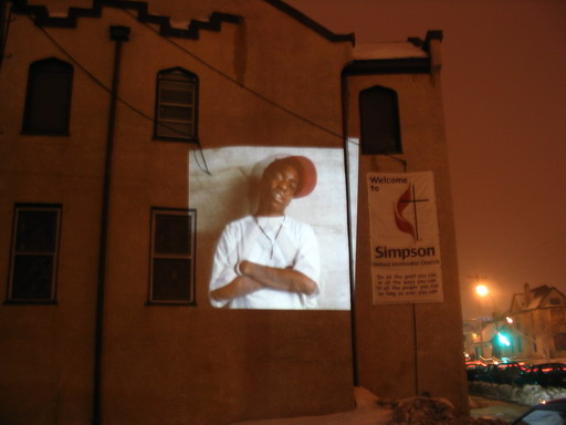 homeless memorial march and vigil - Kulture Klub guerilla projections