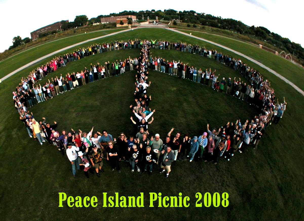 The peace sign on September 4th!  Photo by Tim Hansen and his stickcam
